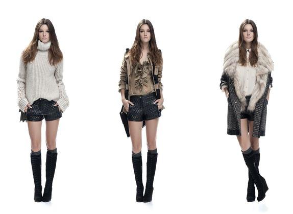 Short corti Pinko abbinati con maglione camicia e cappotto inverno 2012