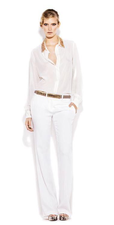 Camicia e pantaloni bianchi Pinko primavera estate 2012