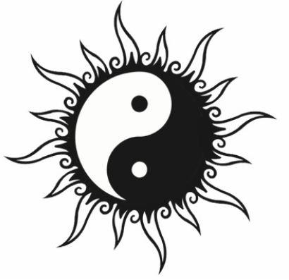 disegno per tatuaggio yin e yang a forma di sole   the house of blog