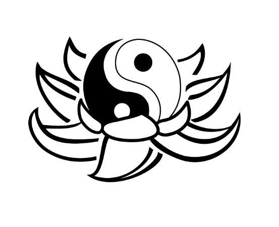 Disegno yin yang tattoo dentro fior di loto