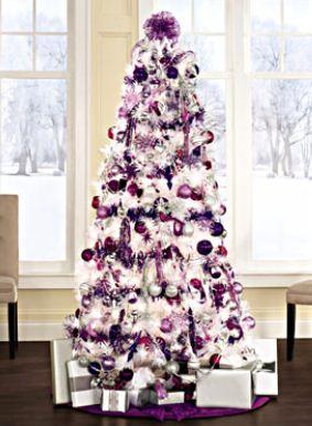 albero di natale 2012 bianco viola e argento - the house of blog