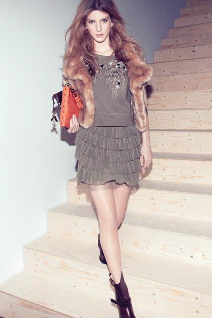 Gonna a balze e pelliccia ecologica Patrizia Pepe inverno 2014