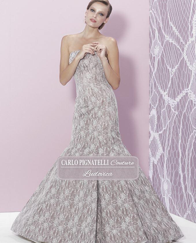 Abito da sposa colorato in pizzo 2015 Pignatelli Couture mod Ludovica ...