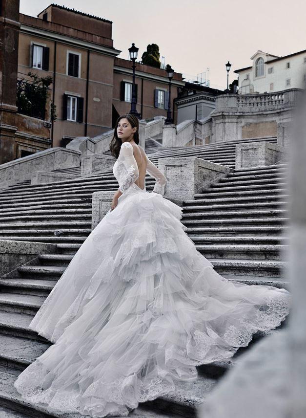 Estremamente Vaporoso abito da sposa con strascico a balze 2015 Alessandro  GT83