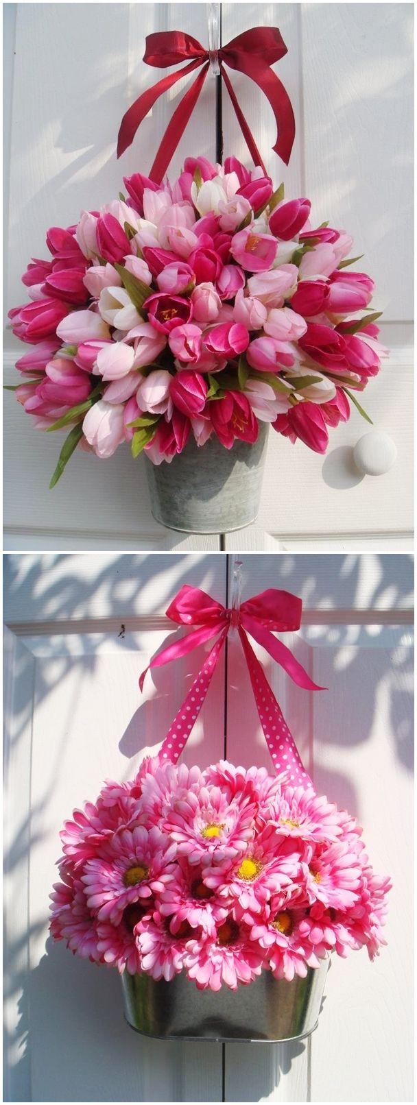 decorazioni floreali primaverili fai da te da appendere