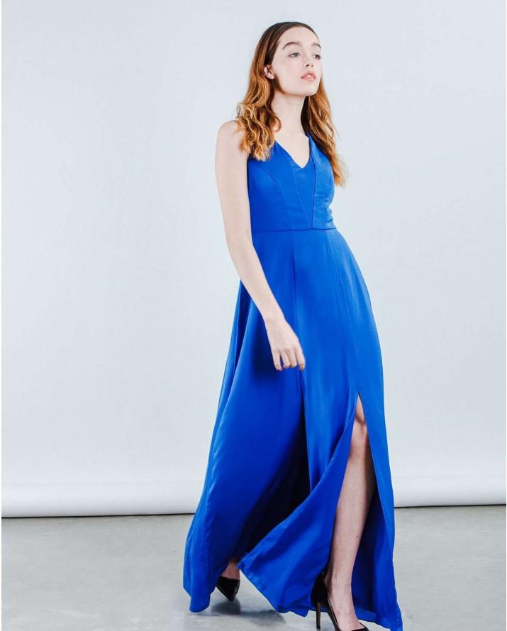Vestito lungo blu elettrico