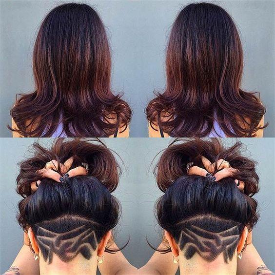 Preferenza Taglio capelli lunghi con parte rasata dietro con disegni - The  LK24