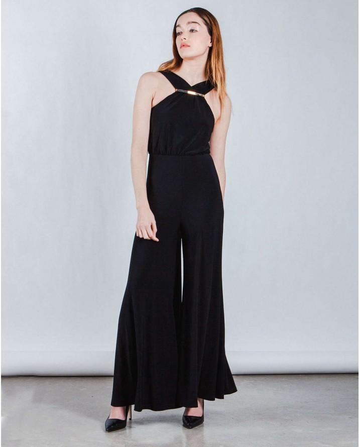 Tuta Nera Elegante Per Cerimonia   Tuta intera nera elegante con pantaloni  palazzo estate 420dc6d4b84