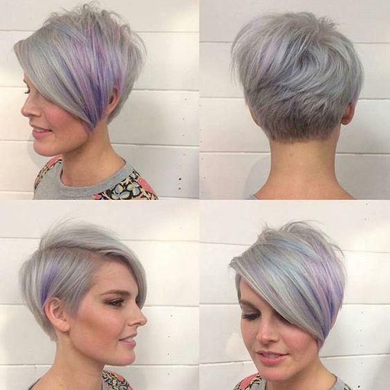 Favorito Idea Taglio capelli corti estate 2016 sfumato di grigio e di rosa  SG26