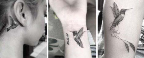Foto tatuaggi piccoli uccellini colibri