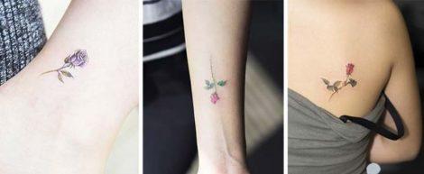 Piccoli tatuaggi di roselline sul polso e sulla spalla