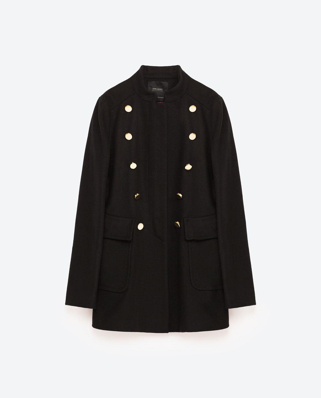 Cappottino stile militare ZARA inverno 2016 2017 prezzo 69 95 euro