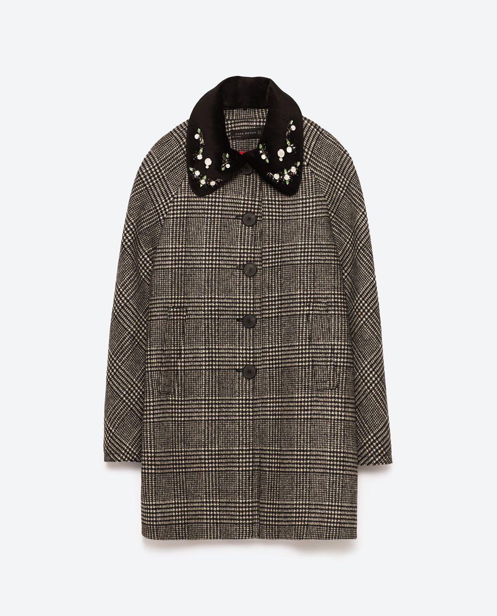 Cappotto a quadri con strass sul collo Zara inverno 2017 prezzo 139 euro