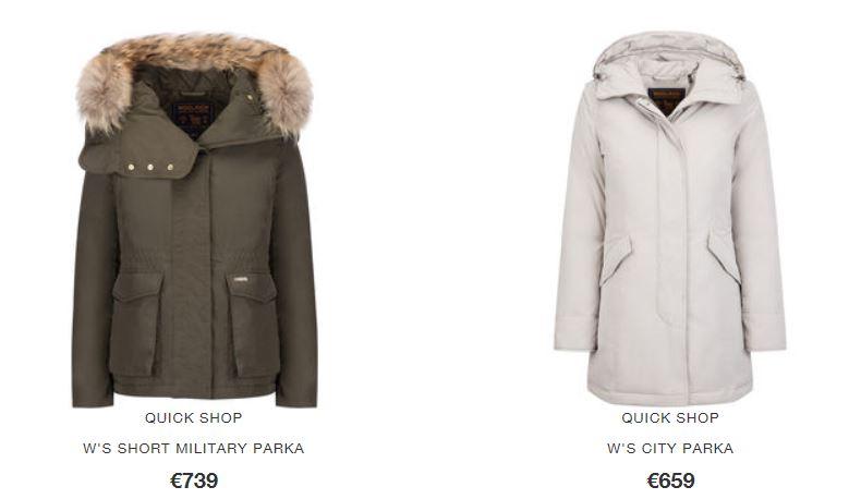 Catalogo prezzi Woolrich donna inverno 2017