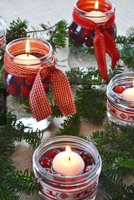 Vasetti di vetro decorati per natale zt69 regardsdefemmes - Decorazioni natalizie con candele ...