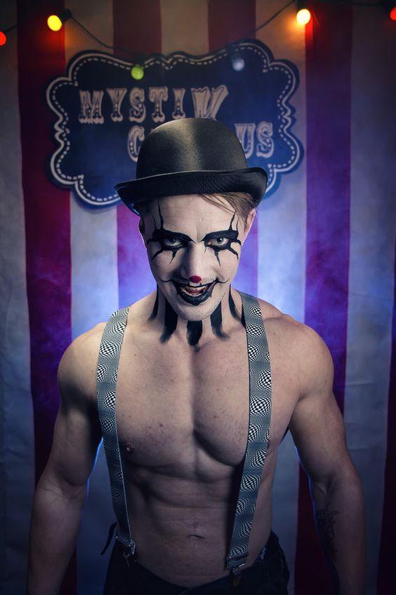 Idea trucco e costume uomo Carnevale da personaggio del circo