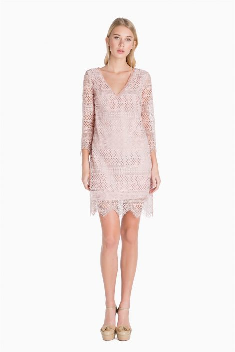 Abitino in pizzo rosa Twin Set Simona Barbieri primavera estate 2017 prezzo 235 euro