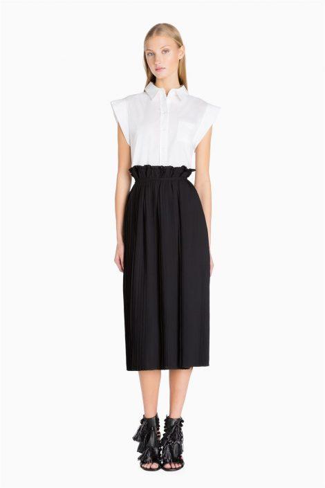 Abito camicia bianca e gonna nera Twin Set prezzo 185 euro