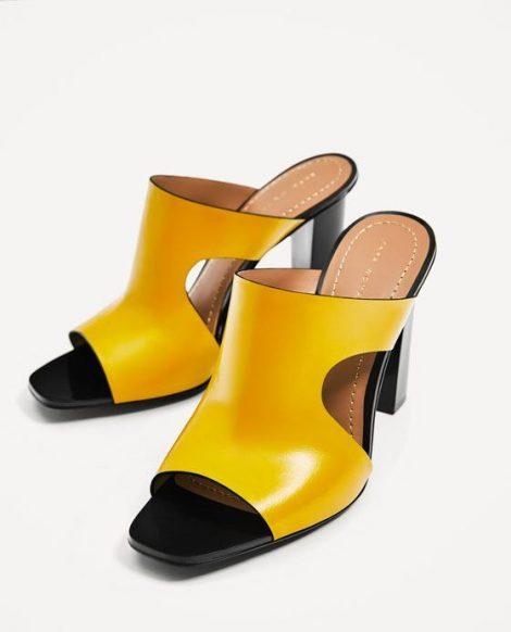 Sabot in pelle gialla Zara estate 2017 prezzo 49 95 euro Sabot in pelle gialla Zara estate 2017 prezzo 49 95 euro 470x582 - Scarpe e Sandali ZARA collezione primavera estate 2017