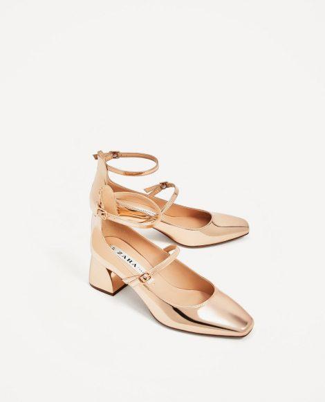 Scarpe ballerine con tacco e doppia cinghietta Zara estate 2017 prezzo 29 95 euro