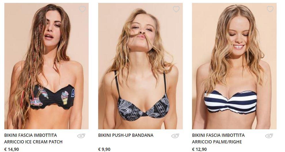 Bikini con patch e stampa foulard e a righe Tezenis