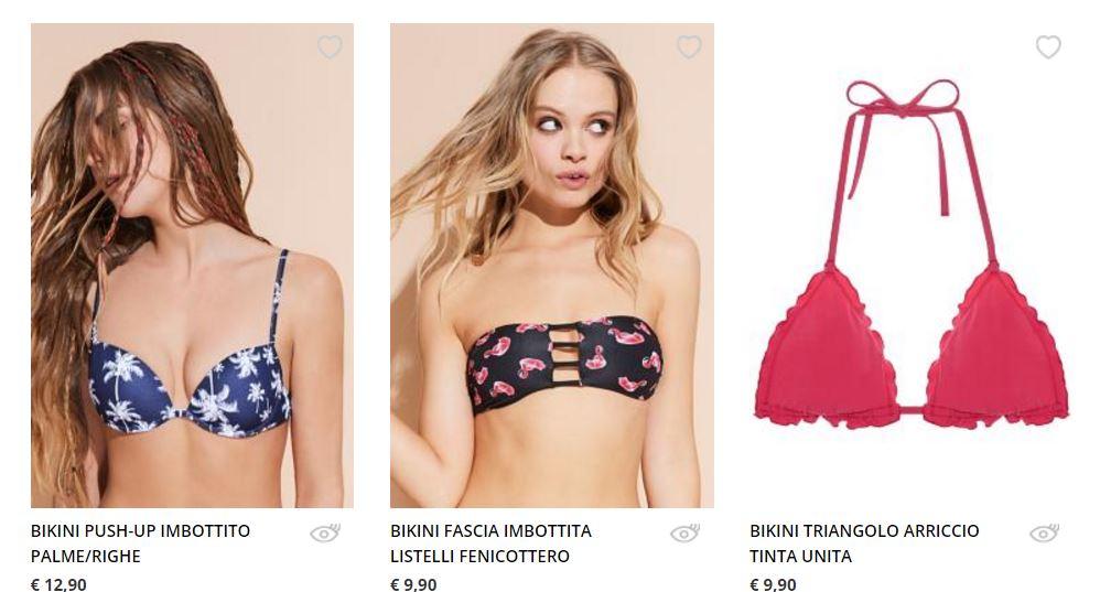 Bikini fantasia palme e fenicotteri rosa Tezenis