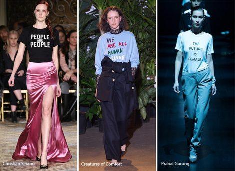 Abiti e Maglie con slogans tendenza moda autunno inverno 2017 2018