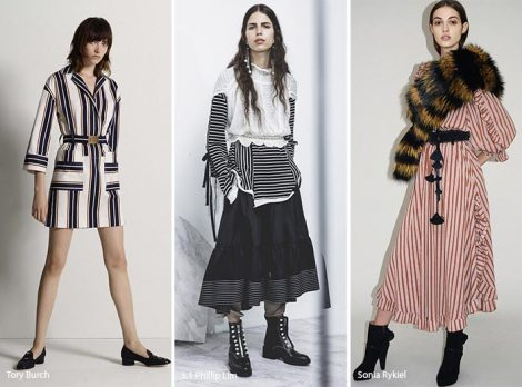 Fantasia a righe moda abbigliamento autunno invero 2017 2018