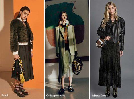 Gonne lunghe e midi a pieghe moda autunno inverno 2017 2018