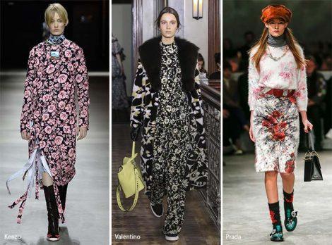 Stampe floreali tendenza moda autunno inverno 2017 2018