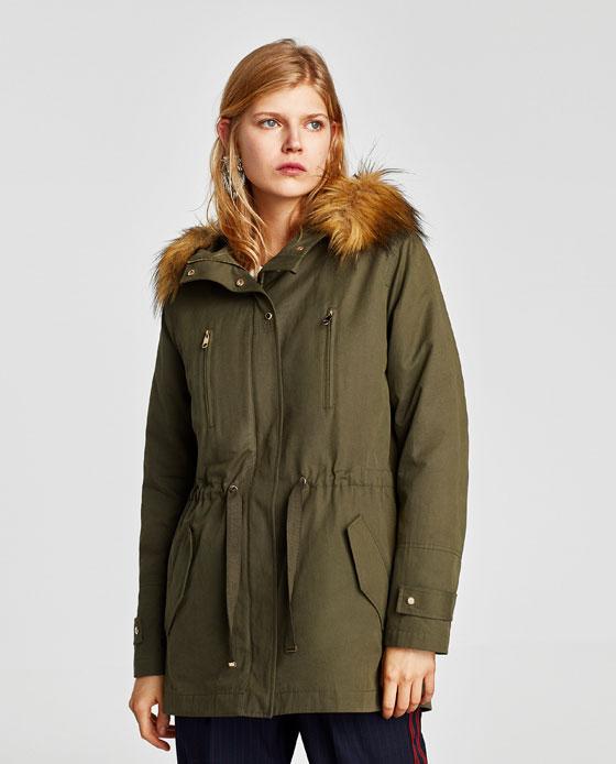 Parka Zara inverno 2017 2018 prezzo 59 95 euro