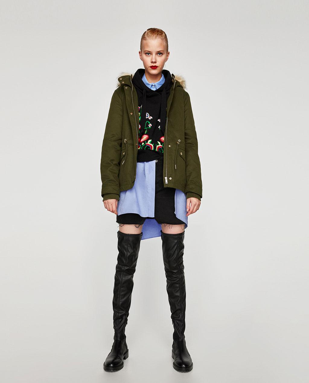 Parka corto Zara inverno 2017 2018 prezzo 59 95 euro