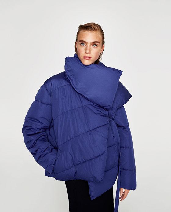 Piumino asimmetrico Zara nuova collezione inverno 2017 2018 prezzo 59 95 euro