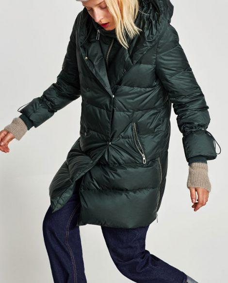 Piumino lungo ZARA inverno 2018 prezzo 79 95 euro