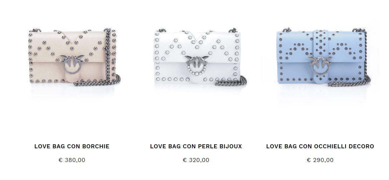 Borsa Pinko Love Bag con perle e borchie collezione inverno 2017 2018