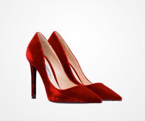 Decollete rosse in velluto Prada inverno 2018 prezzo 520 euro