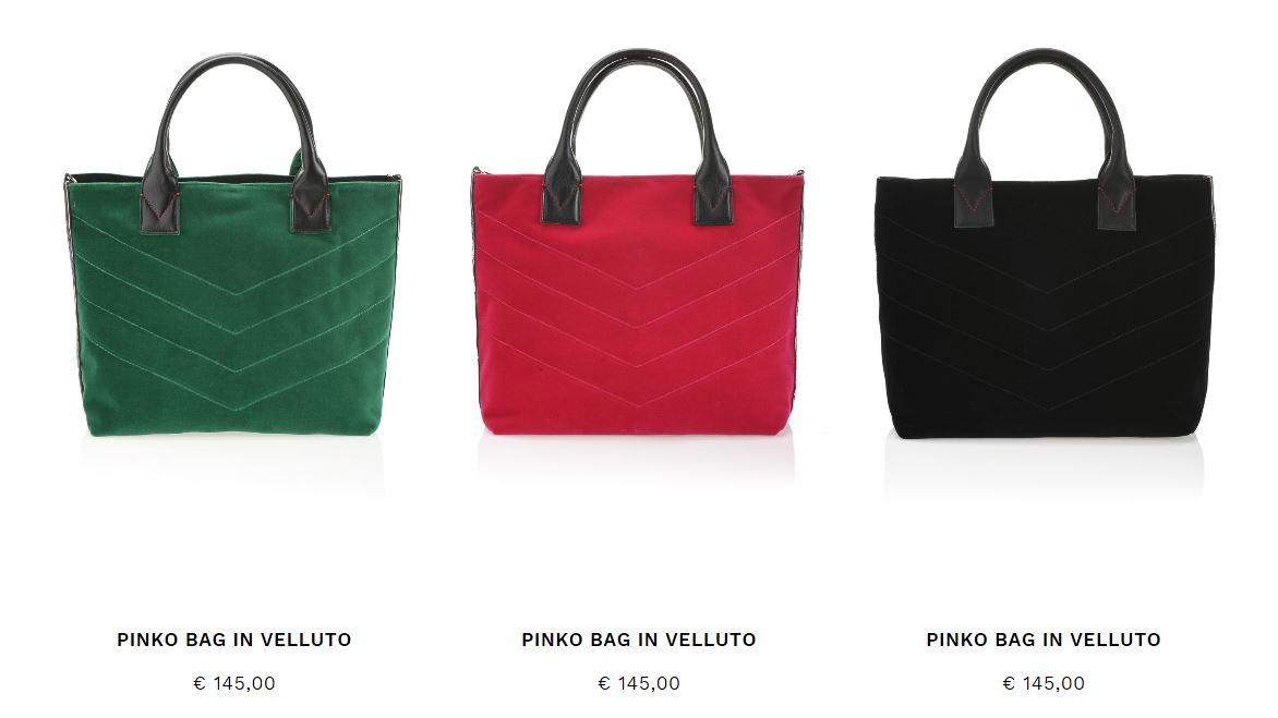Pinko Bag in velluto Inverno 2018 prezzo 145 euro