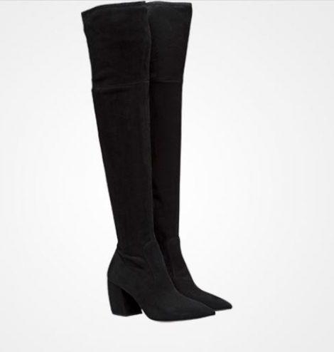 Stivali overknee in camoscio stretch Prada prezzo 1350 euro