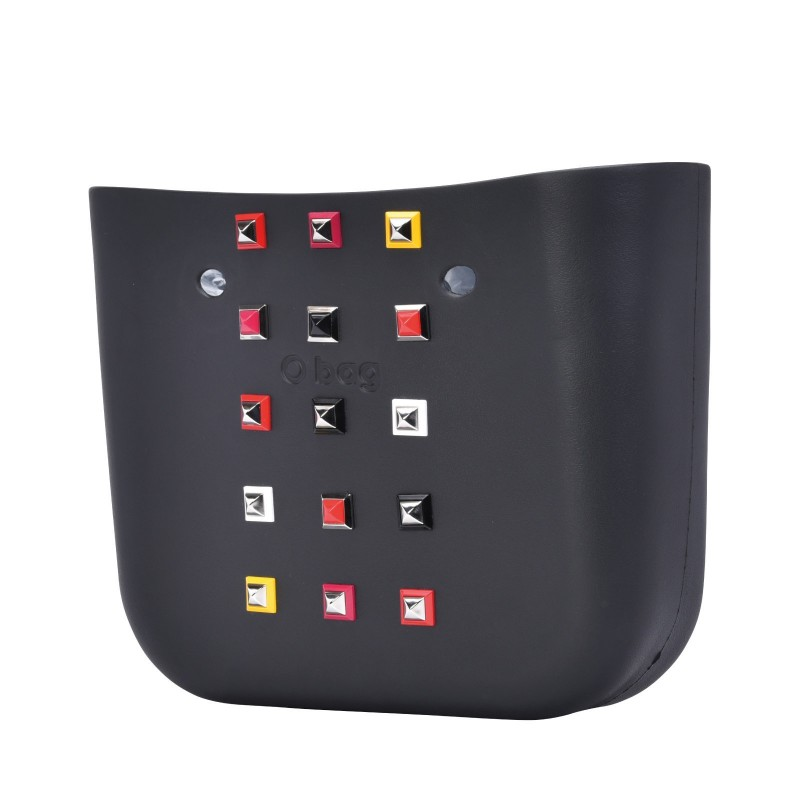 Nuova scocca borsa O Bag con borchie primavera estate 2018 colore nero