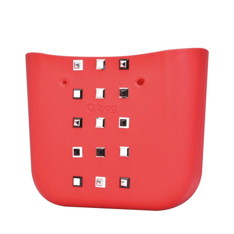 Nuova scocca borsa O Bag con borchie primavera estate 2018 colore rosso