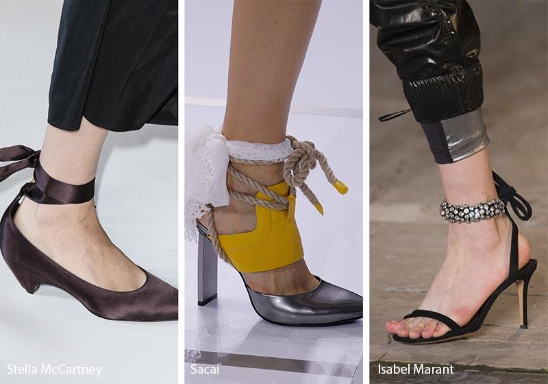 Calzature con pelliccia moda primavera 2018 Sandali allacciati alla caviglia moda estate 2018 - Sandali allacciati alla caviglia moda estate 2018