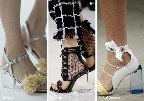 Scarpe e sandali con tacchi grossi trasparenti moda primavera estate 2018