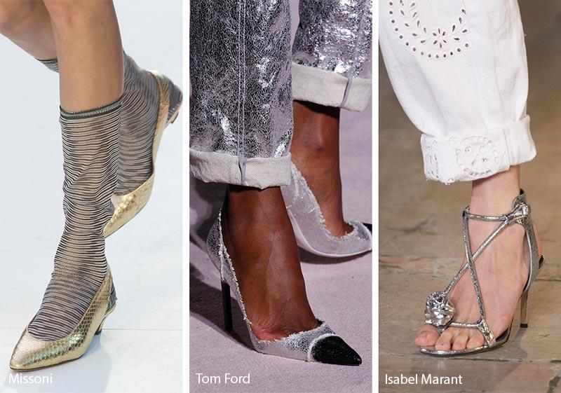 Scarpe e sandali in pelle metallizzata moda primavera estate 2018
