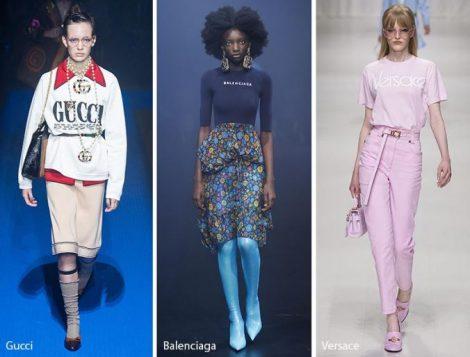 Logomania tendenza moda abbigliamento primavera estate 2018