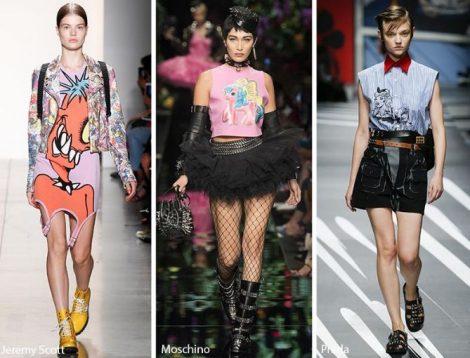 Stampe con personaggi cartoons moda abbigliamento primavera estate 2018
