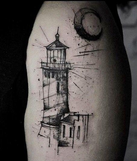 Foto Piccolo tatuaggio di un faro stilizzato Tatuaggio Faro con Luna - Tatuaggio Faro con Luna
