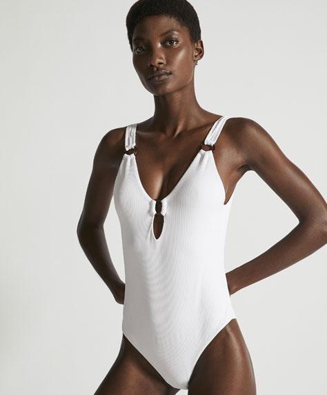 Costume intero bianco a costine Oysho 2018