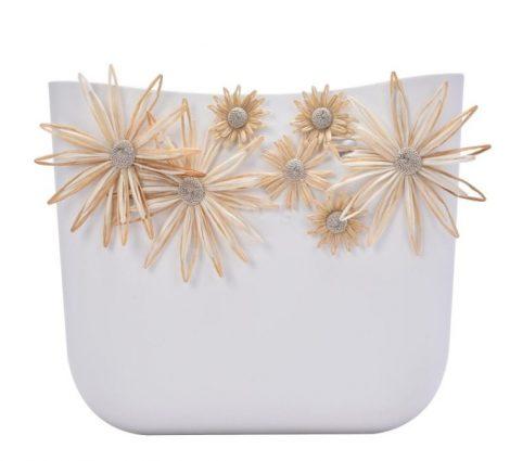 Nuova scocca borsa O Bag con fiori in rafia color latte