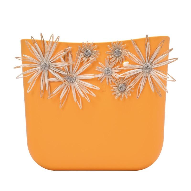 Nuova scocca borsa O Bag estate 2018 con fiori in raffia colore Cedro