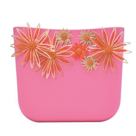 Nuova scocca borsa O Bag estate 2018 con fiori in raffia colore Pink